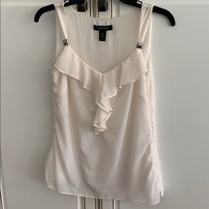 silk off white lined camisole top with ruffle